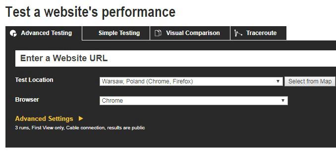 Скорость загрузки сайта. WebPage Test.