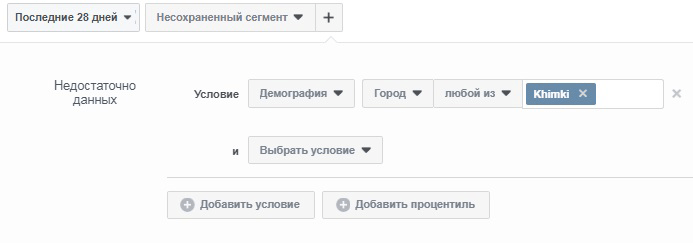 Фейсбук аналитика. Условия