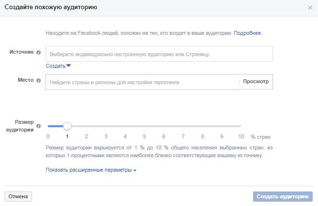 Воронка продаж из Facebook рекламы. Похожая аудитория