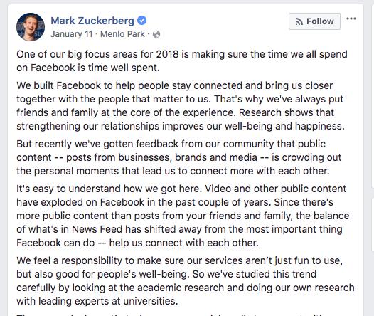 Фейсбук алгоритм 2018. Изменение