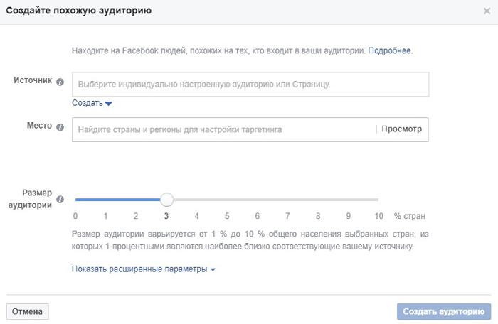 Аудитории Facebook. Похожая аудитория