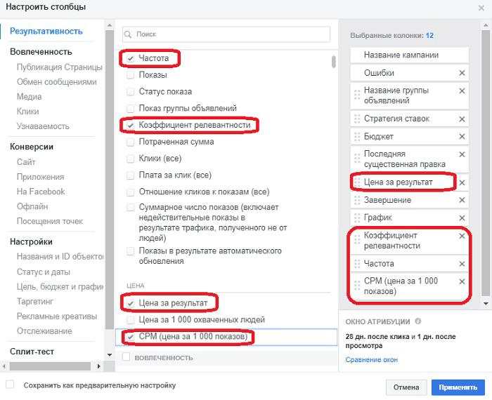 Отчеты в Фейсбук Ads Manager. Показатели