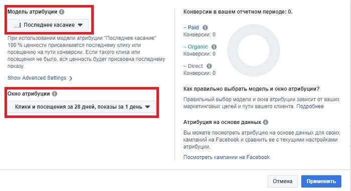 Атрибуция рекламы в Фейсбук. Модель окно