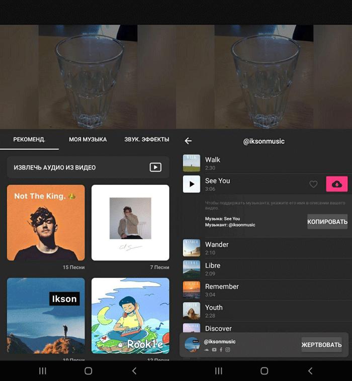 настройки музыки в InShot