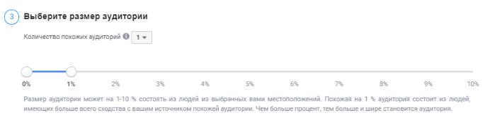 Похожая аудитория фейсбук. Размер