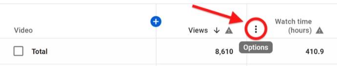 Youtube аналитика. Опции